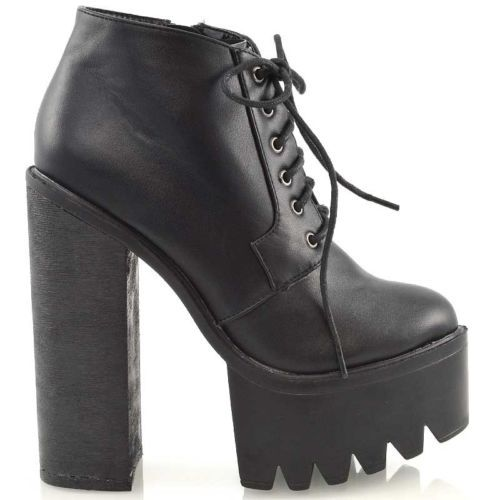 da85382ad7a1 Ladies-Chunky-High-Heel-Cleated-Sole-Womens-Platform-Ankle-Boots-Shoes -Size-3-8