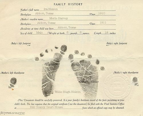 WILLIEu0027S BIRTH CERTIFICATE YOUNGER WILLIE NELSON Pinterest - fresh request letter for birth certificate