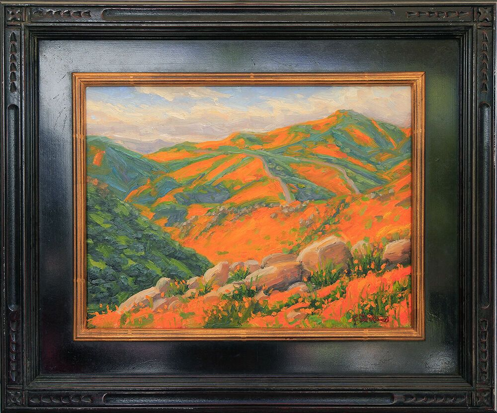 Plein Air Oil Painting, Poppies Forever, 12x16, Framed