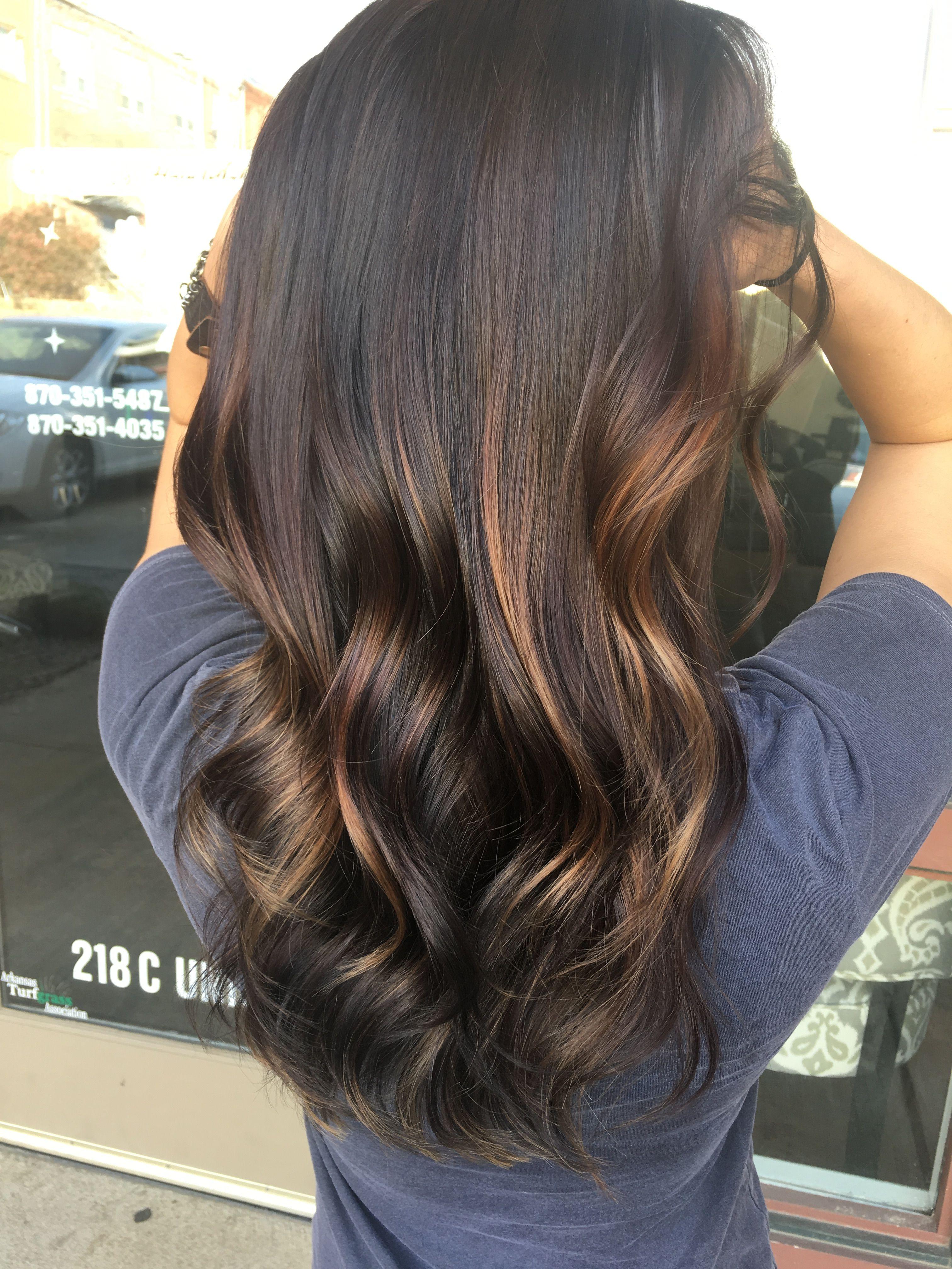 Dark Brunette Balayage Caramel Lowlights Balayage Brunette Dark Hair With Lowlights Balayage Hair Dark