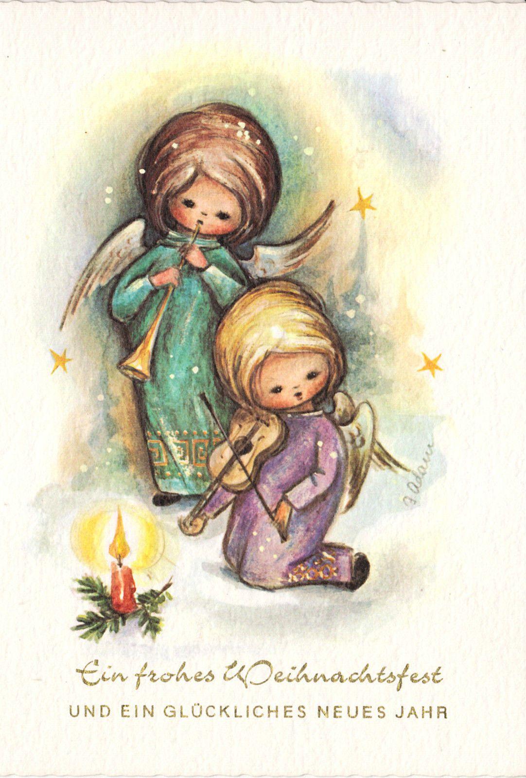 Weihnachten - Engelchen musizieren - sign. Adam, blanco ...