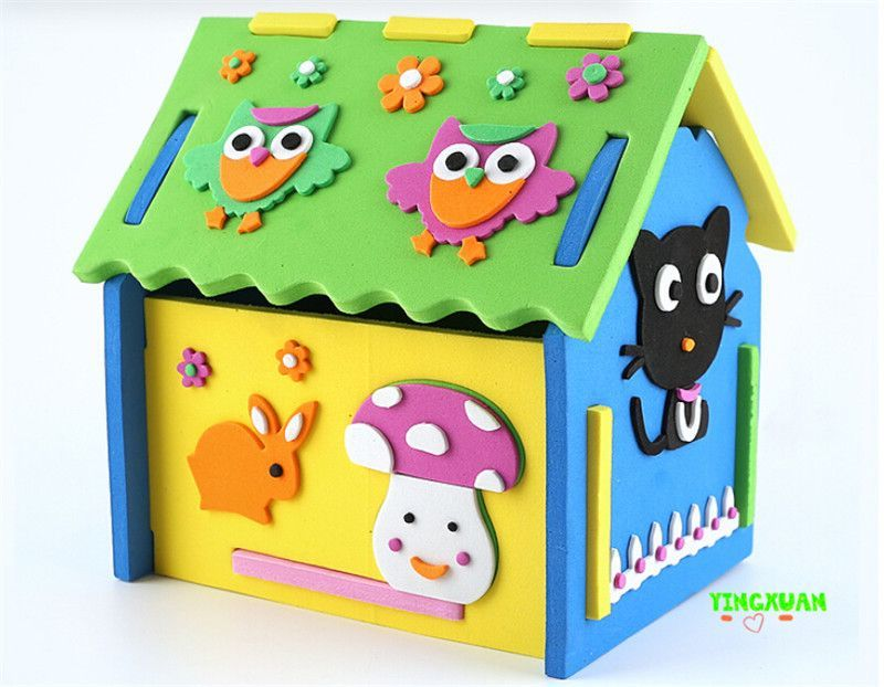 2016 New Cute DIY 3D Mushroom Number House Puzzle Model Handicrafts EVA Foam Craft Kindergarten Development Toys Kids 3 6 Years