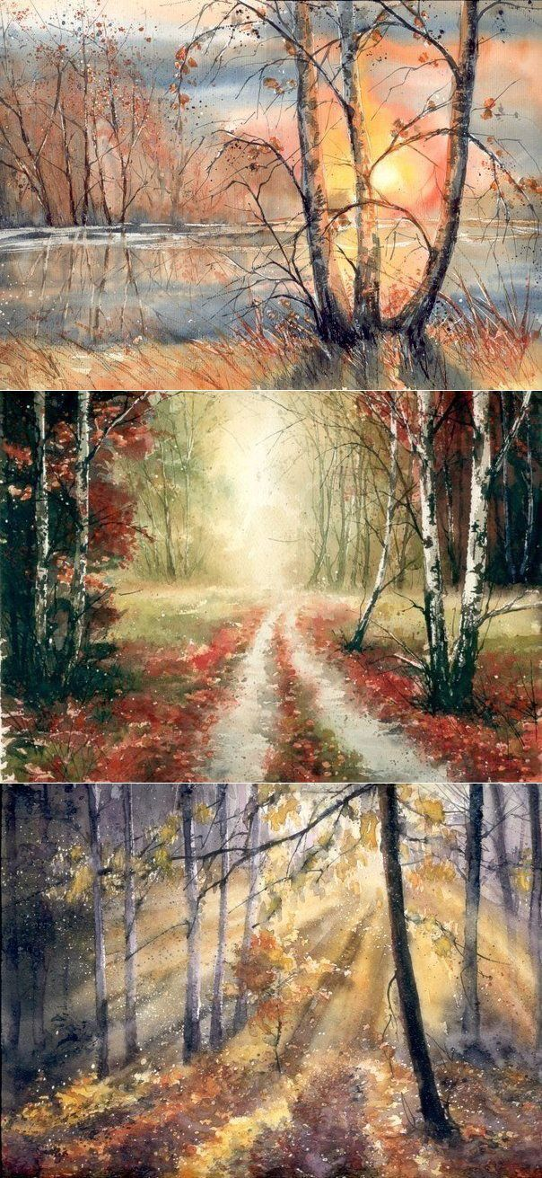 Просто восхитительные осенние пейзажи, написанные акварельными краcrfvb - Malgorzata Szchecinska -� | искусство
