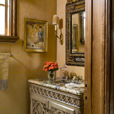 lovely powder room at riverhills showhouse ft worth tx - Bathroom Mirrors Fort Worth Tx