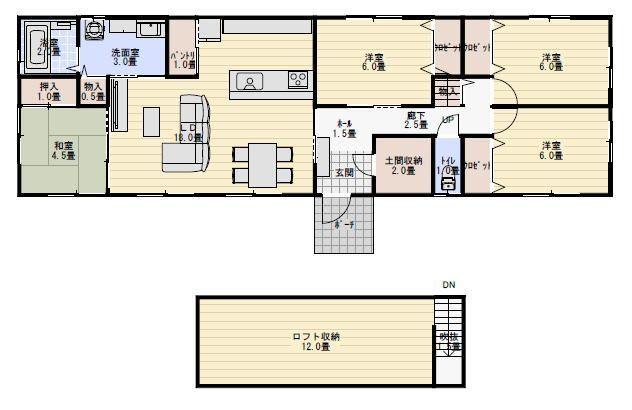 30坪 ロフトあり 平屋住宅の間取り 平屋 30坪