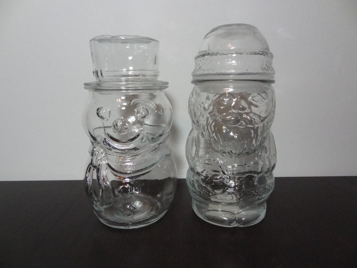 Vintage Libbey Clear Glass Snowman and Santa Clause Jars - Set of 2  - Christmas/Holiday Glass Canisters/Apothecary/Storage Jars by DaysLongGoneSalvage on Etsy