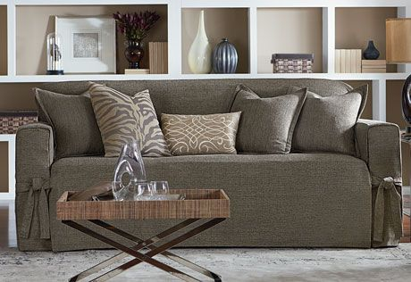 Refresh Your E With Soft Sophistication Sure Fit Slipcovers Textured Tweed One Piece Sofa