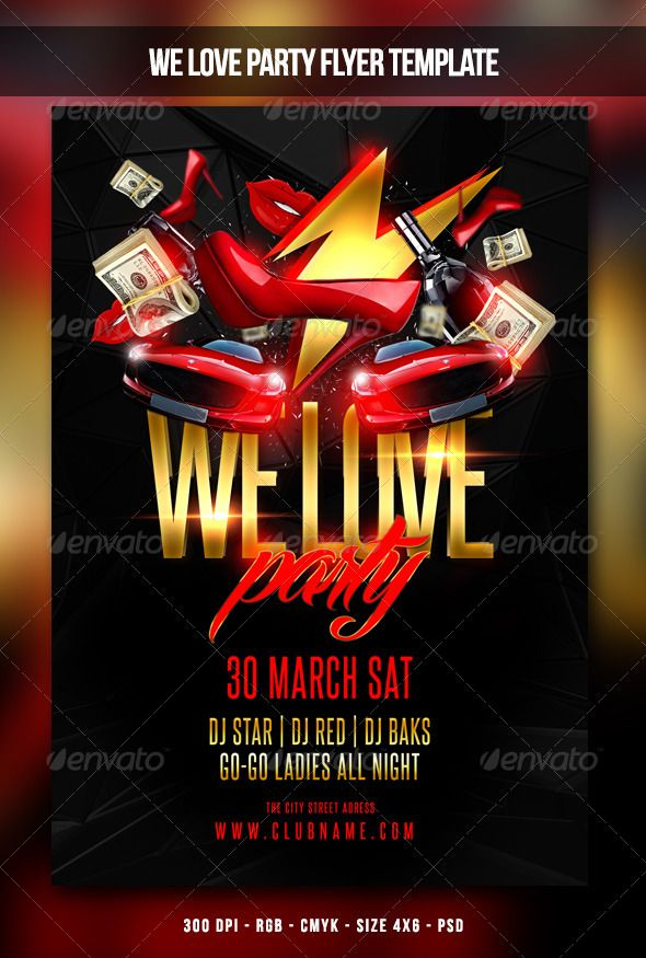 We Love Party Flyer Party flyer, Flyer size and Font logo - movie night flyer template