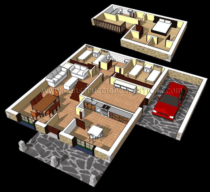 3d de distribuci n interior de casa r stica de piedra con for Distribucion de casas modernas