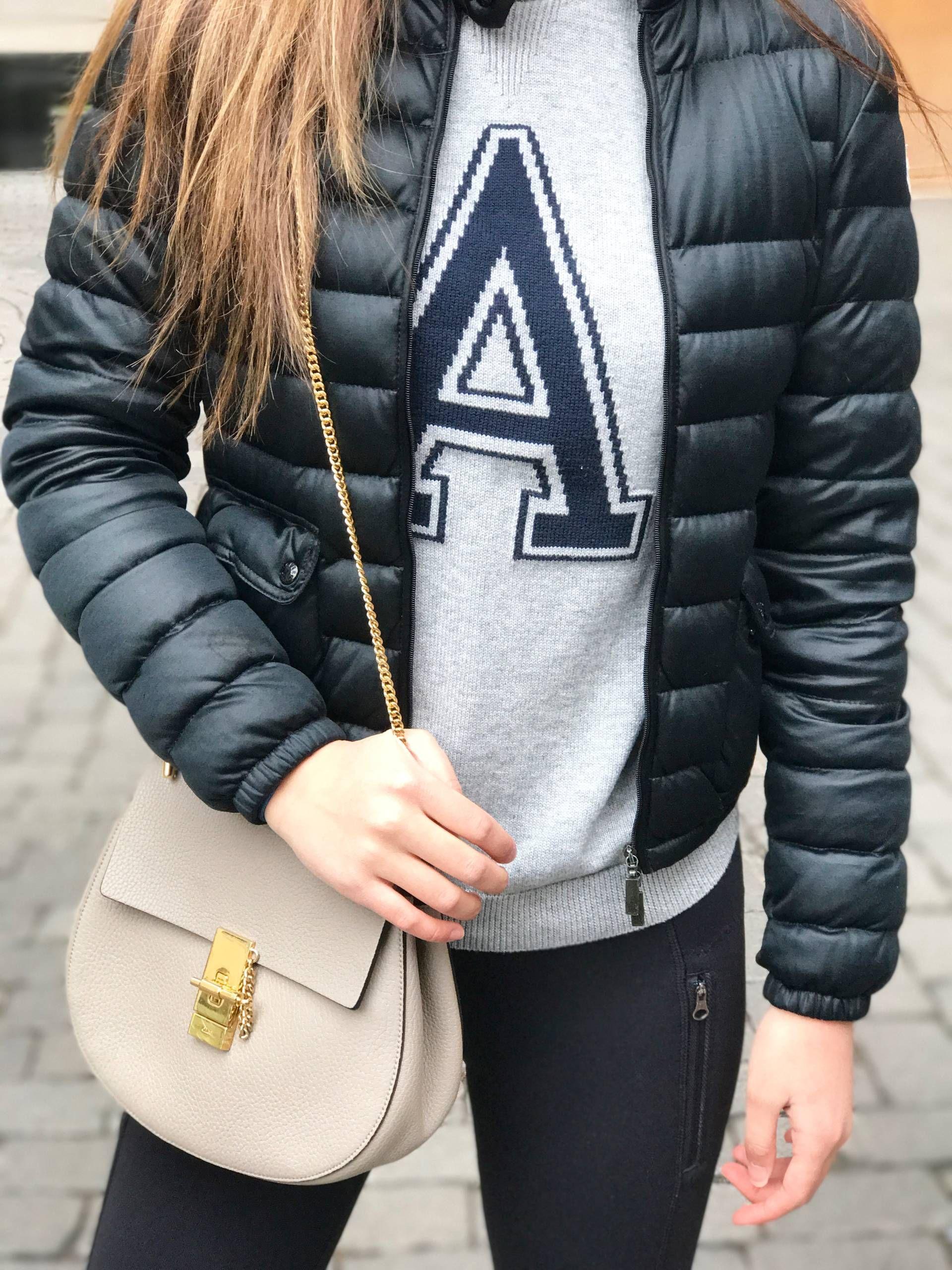 varsity letter sweater letter a from h&m, moncler black lans light jacket, lululemon inspire ii mesh leggings, chloe drew bag in grey, etnia barcelona ...