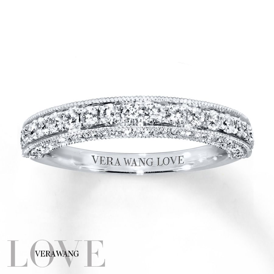 from the vera wang love collection this exceptional wedding band is alive with round diamonds sparkling along the band and profile