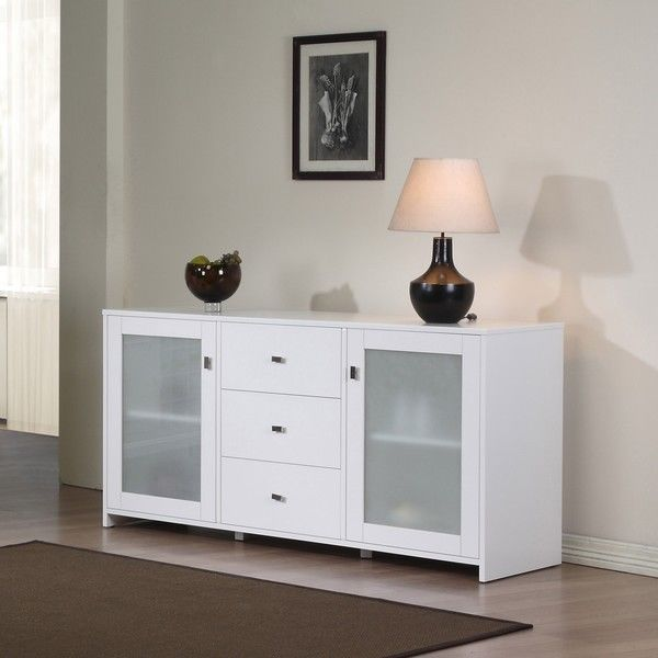 Benson buffet classic white finish 2 glass door 3 drawer server benson buffet classic white finish 2 glass door 3 drawer server dining sideboard planetlyrics Image collections
