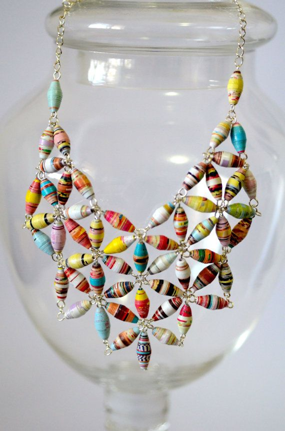 Statement Paper Bead Bib Necklace | Bibs, Beads and Bead necklaces