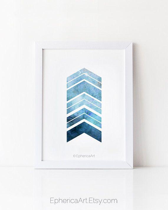 Navy blue art print printable wall art chevron by ephericaart