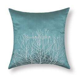 Online Shop Set of 2 Cushion Covers Home Decor Throw Pillows Case Shell Faux Silk Teal Ground Ecru Coral Embroidery 18''*18'' 45cm*45cm|Aliexpress Mobile