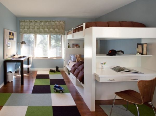 a shared teenage boys bedroom with bunk beds and colorful carpet - Teen Boys Beds
