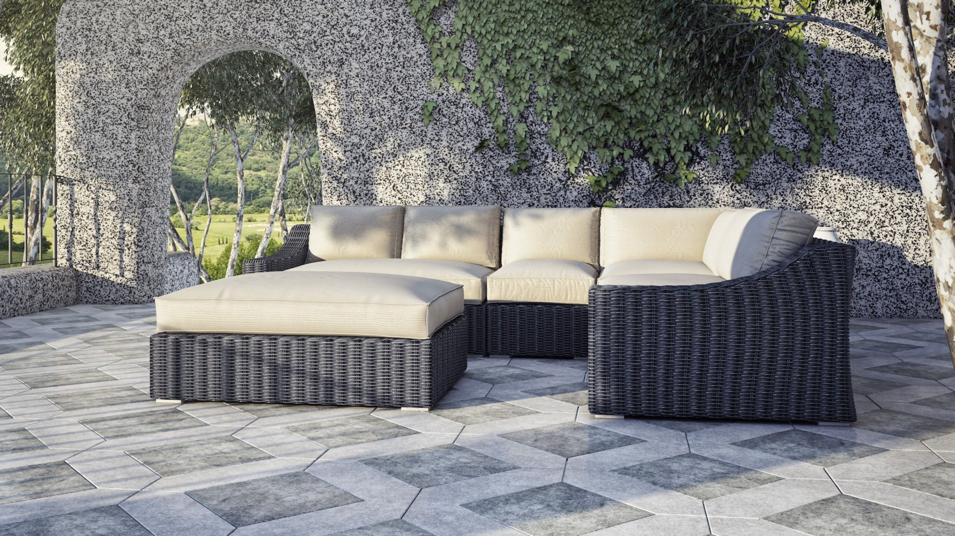 Tuscan Sectional Set 3 200 Includes Left Arm Middle Corner Right Arm And Ottoman All Cushions Made With Sun Outdoor Furniture Sets Patio Patio Furniture