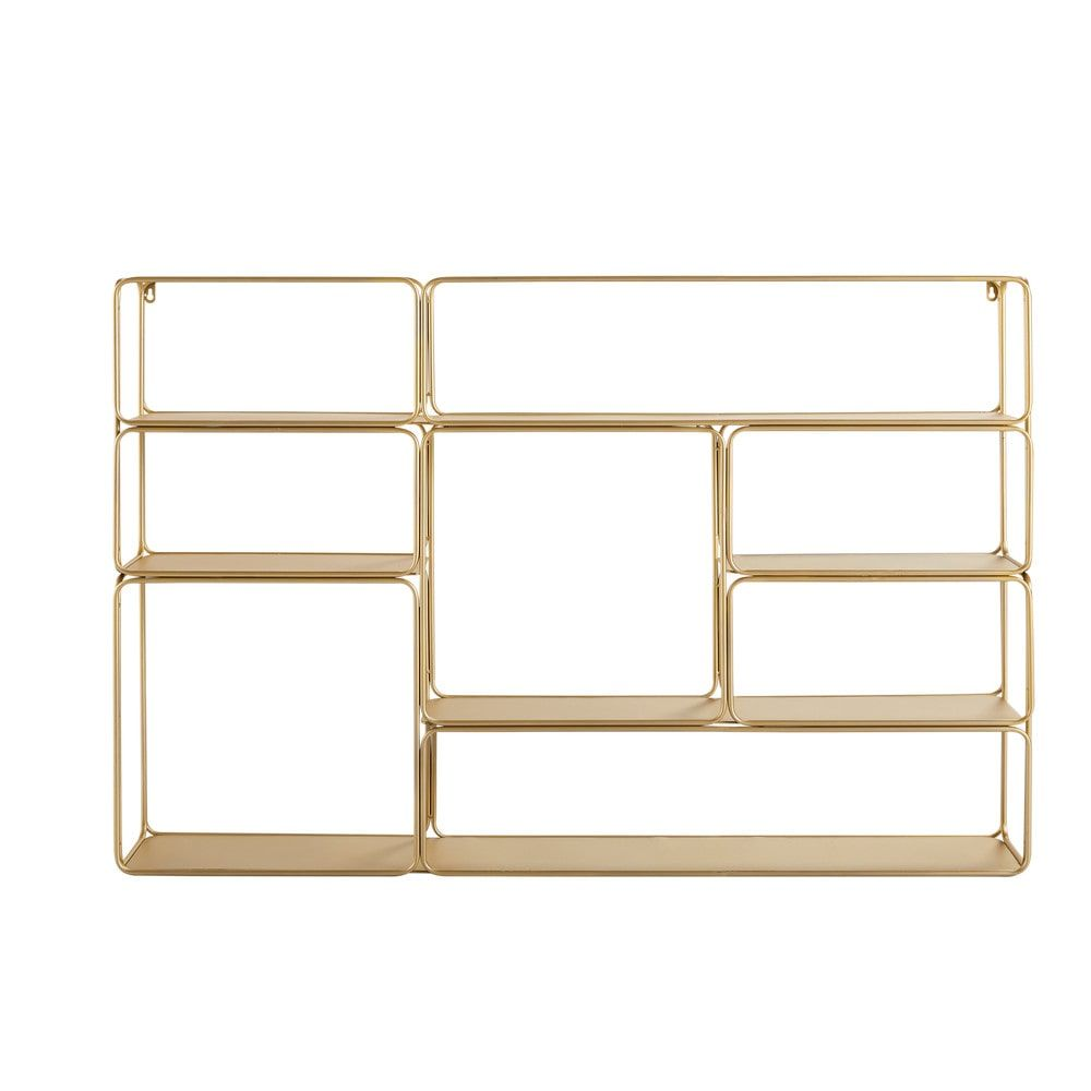 Maison Du Monde Mensole.Gold Metal Wall Mount Shelving Unit Wall Mounted