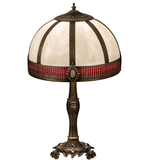 "27"" Vintage Bronze Red Ripple Table Lamp"