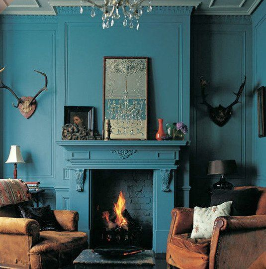Teal Living Room Accent Wall: Paint Color Portfolio: Teal Living Rooms