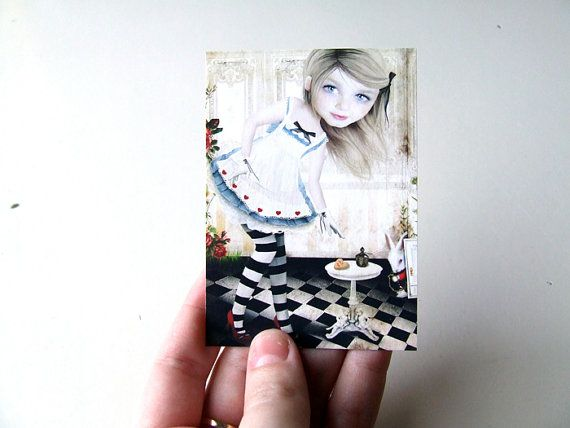 ACEO/ATC  Alice  Artists Trading Card Premium Fine by solocosmo, $3.00