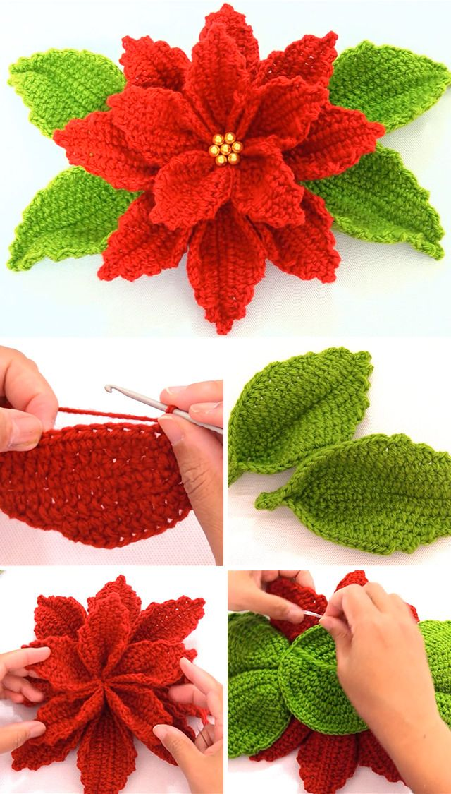 Crochet Poinsettia Flower To Make For Decor | CrochetBeja #crochetflowers