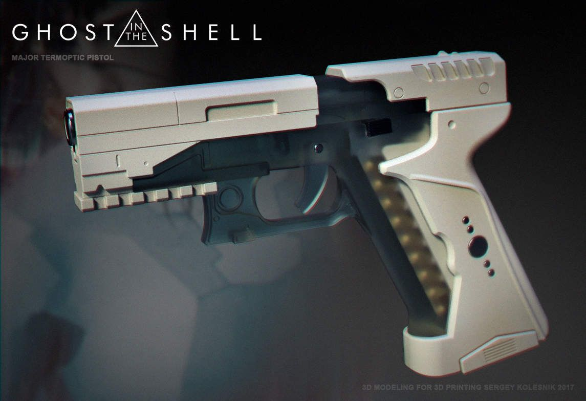3d Model Major S Blaster From Movie Ghost In The Shell Etsy Ghost In The Shell Pistol Guns