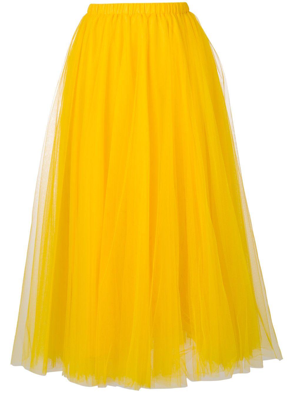 Falda Midi De Gasa De Color Amarillo Mostaza De Rochas El Amarillo Es El Nuevo Neutro Y El Color Rey De Orange Midi Skirt Midi Skirt Knee Length Tulle Skirt