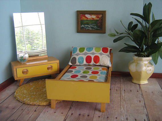 Vintage 50s BODO HENNIG German Bedroom Furniture-Yellow Bed