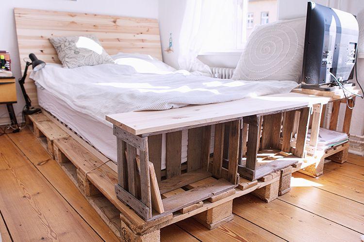 Bevorzugt Bett-DIY: Baue dir selbst ein Bett mit Paletten und Weinkisten LU93