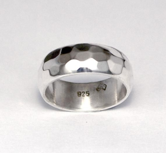 Silver Hammered Wedding Ring