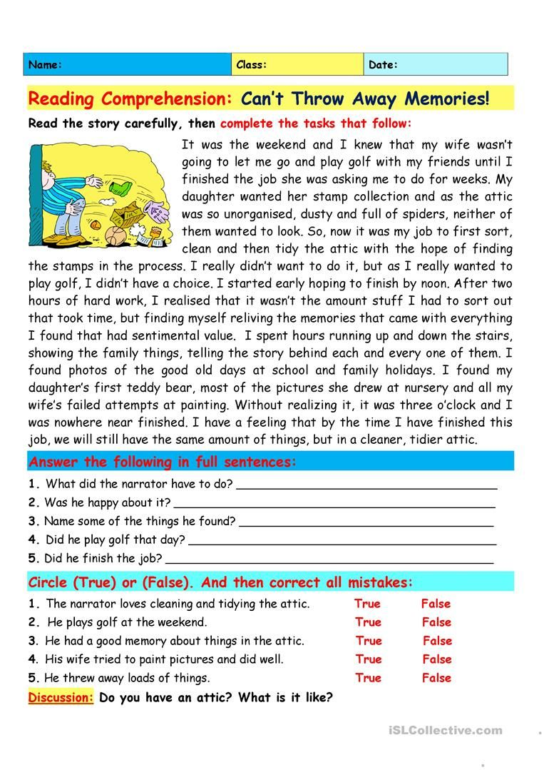Reading Comprehension Can T Throw Away Memories English Esl Worksheets F Reading Comprehension Lessons Teaching Reading Comprehension Reading Comprehension