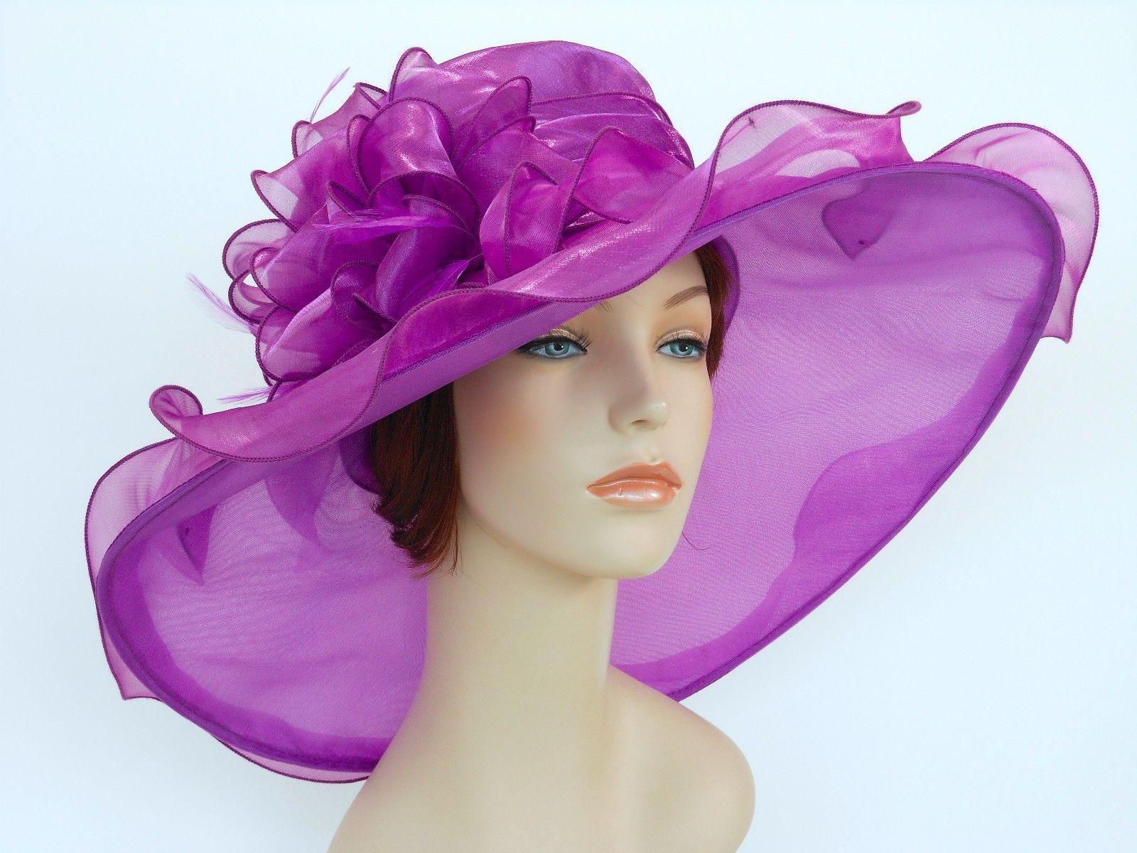 Church Kentucky Derby Wedding Organza Wide Brim Dress Hat 3546 Purple