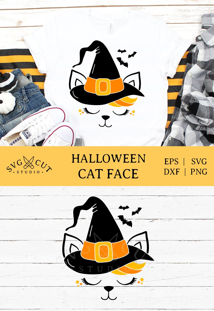 Halloween Cat Face SVG Files A sihlouette Svg files