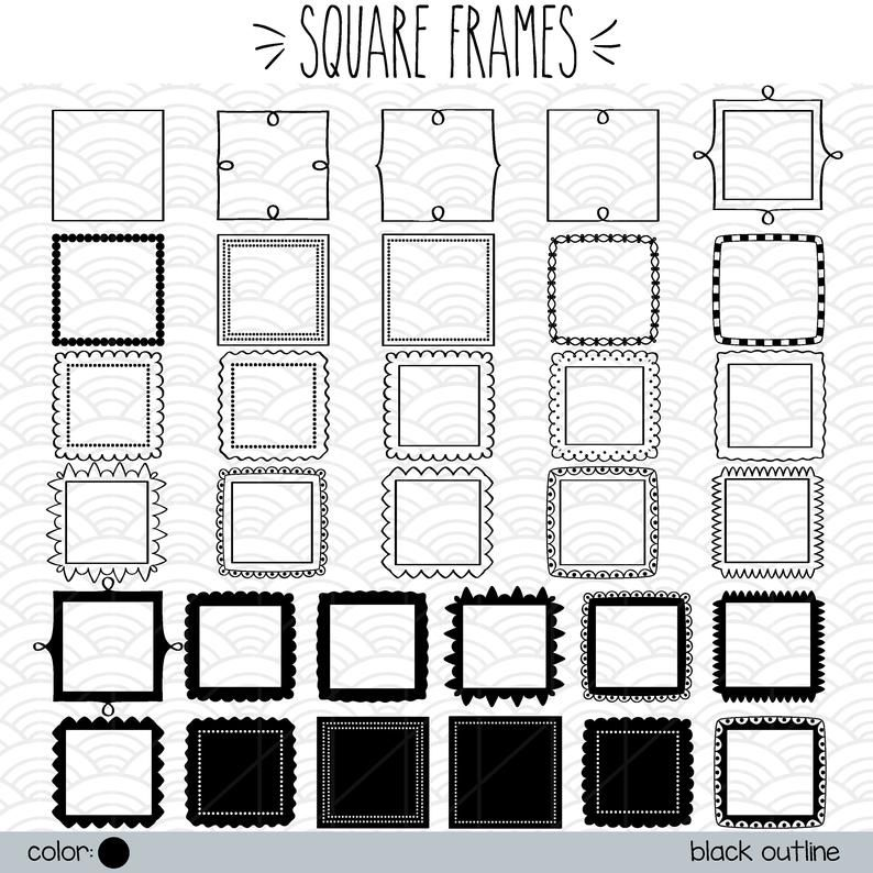 32 Square Frame Clip Art Hand Drawn Border Decorative Etsy Frame Clipart How To Draw Hands Clip Art