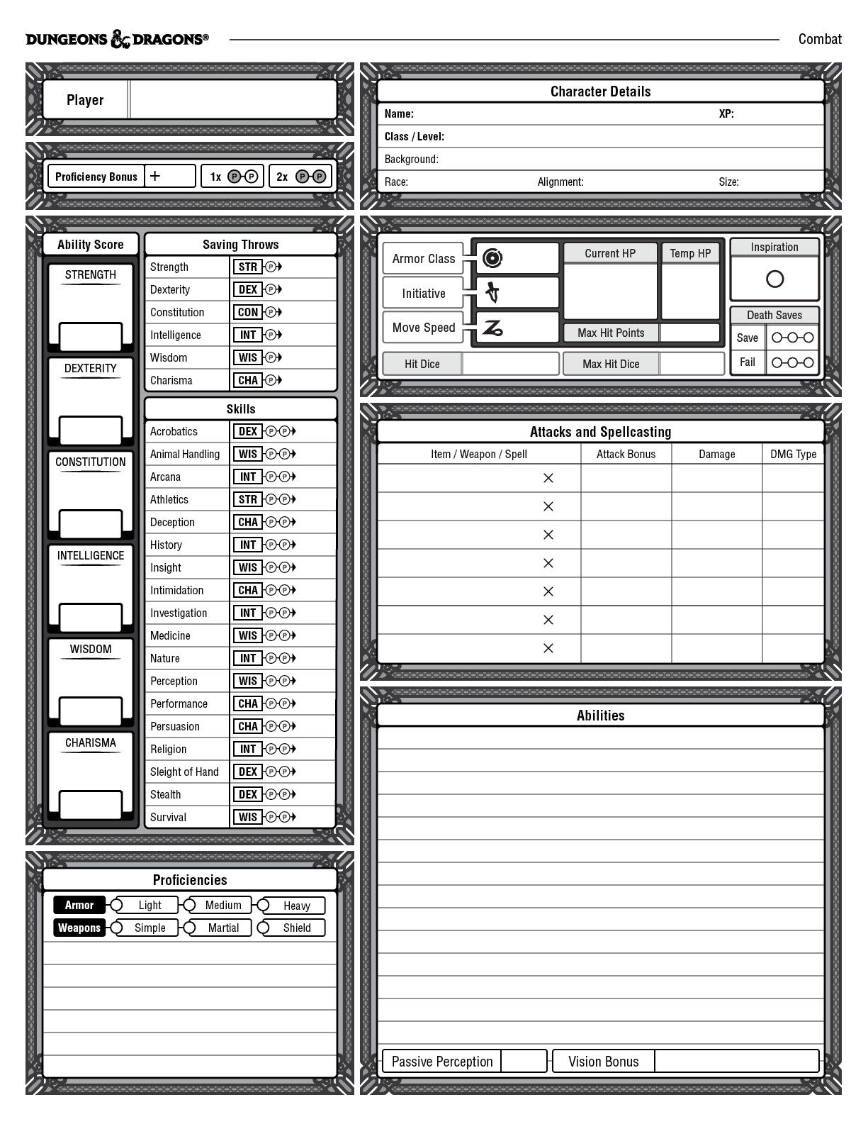 A custom, combat-oriented character sheets for the Dungeons