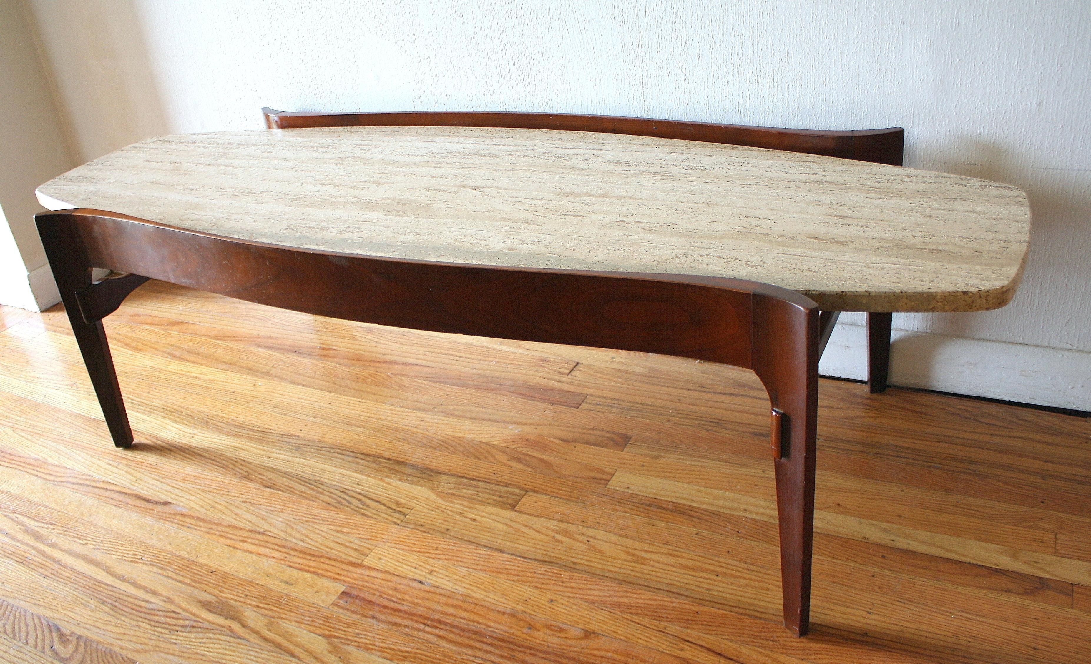 Heywood Wakefield Coffee Table with Surfboard Edges This is a