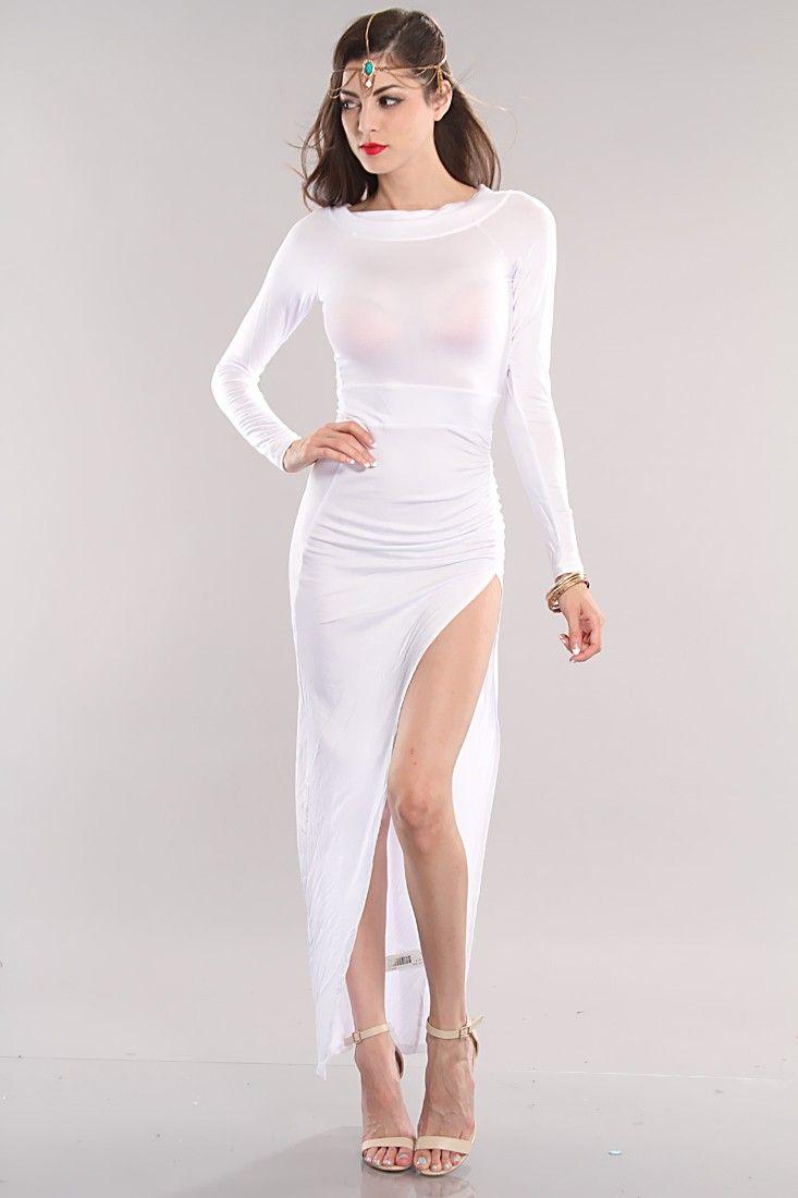 White Long Sleeve Side Slit Sexy Maxi Dress | Kizzang ...