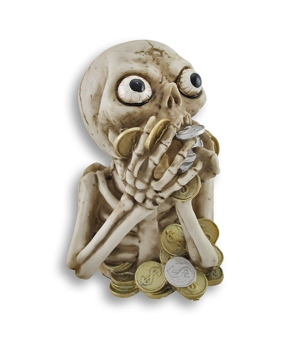 Check this danger looking skeleton bank which hold of your coins for you. It looks like the skeleton is really a hungry coin eater monster to save your poc