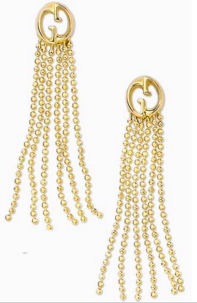 8c7b8115fe949a NWT GUCCI 18k Yellow Gold GG Tassel Drop Beaded Fringe Earrings $1,430.00 # Gucci #ChandelierDropDangle