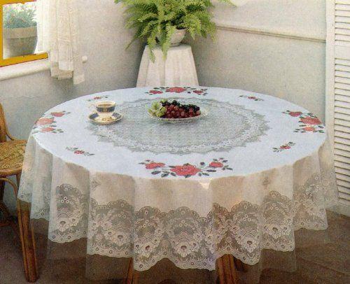 Tablecloth Floral Vinyl Printed 60 Inches Round Sana Enterprises