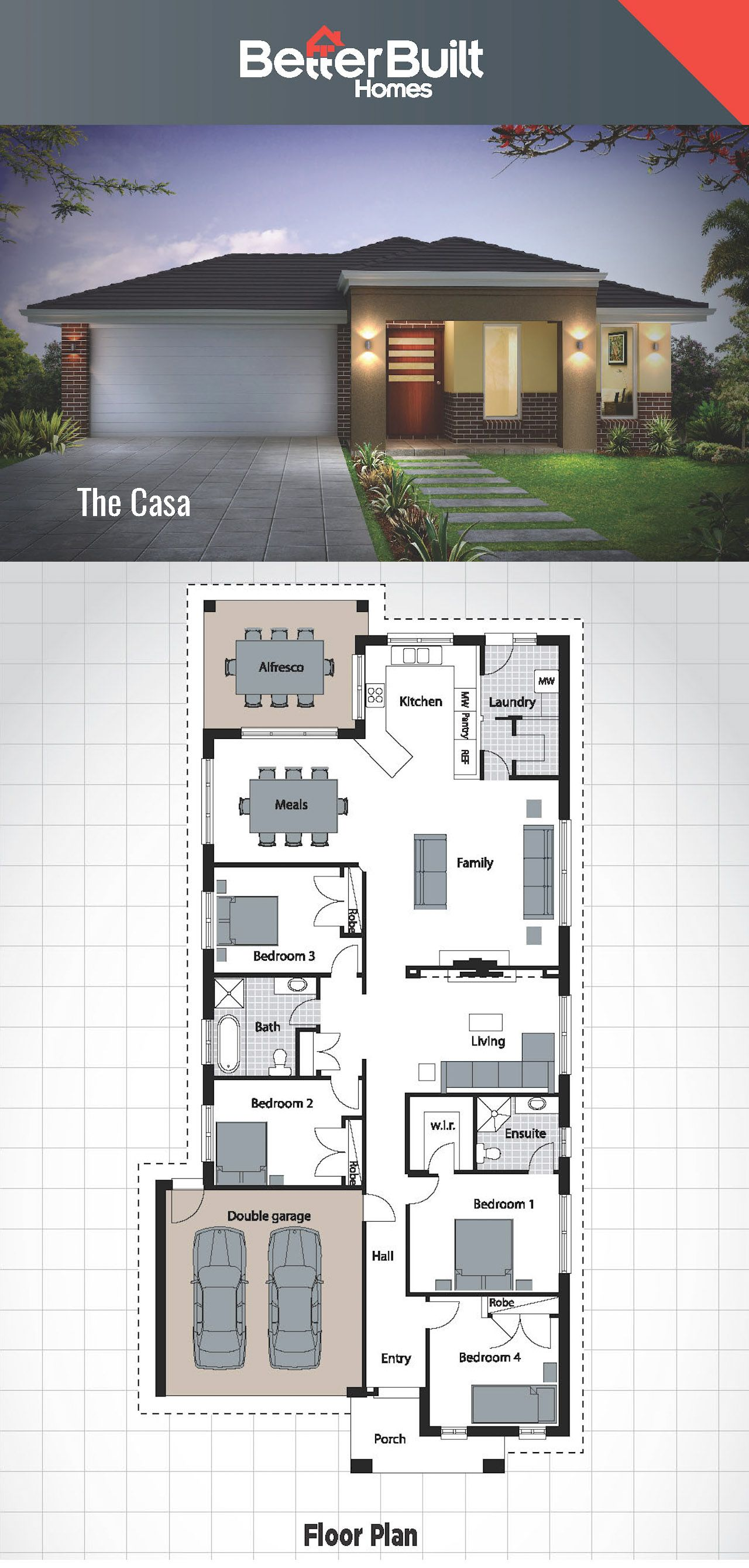 The Casa House Design Single Storey Delight Betterbuilt Floorplans Houseplans Onestorey H One Storey House Single Floor House Design Modern House Plans