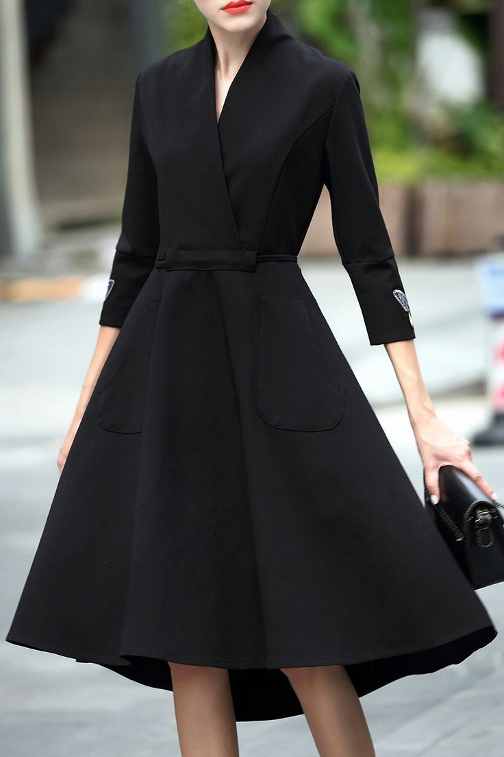 Crossover Collar Dovetail Dress  Black embroidered dress, Elegant
