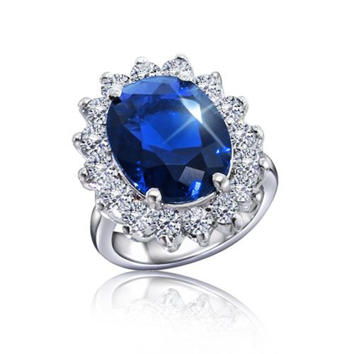 Kate Middleton Royal Engagement Ring Oval CZ Sapphire Silver Plated 5ct