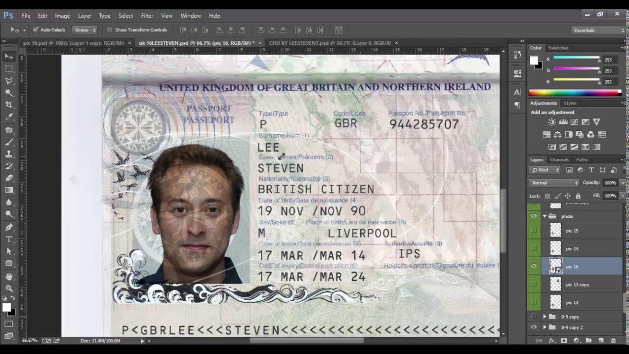 NEW UK PASSPORT TEMPLATE PSD , ID UK PSD TEMPLATE 2016 | UK ...