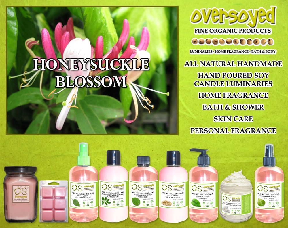 Honeysuckle Blossom (Compare To Bath & Body Works®) Product Collection - Blooming honeysuckle, budding lilacs, and captivating rose intermingle in the heart of this floral beauty.  #OverSoyed #HoneysuckleBlossom #Candles #HomeFragrance #BathandBody #Beauty