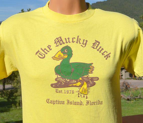 Vintage 80s T Shirt Mucky Duck Bar Restaurant Captiva Island