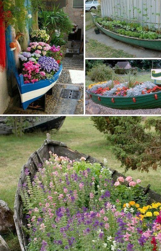 Pflanzgefäße im Garten altes-boot-blumen-bepflanzt | Pflanzen/Garten ...