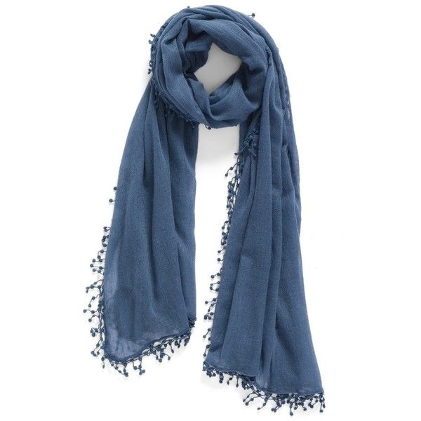 Women's La Fiorentina Pompom Cashmere Scarf ($138) ❤ liked on Polyvore featuring accessories, scarves, midnight, long scarves, cashmere shawl, cashmere scarves, la fiorentina scarves and fringe scarves
