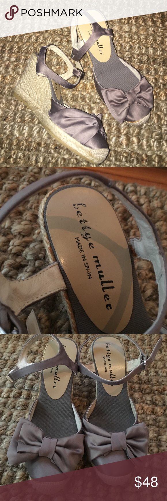 BETTYE MULLER Silk Bow Espadrille Heels Size 35! BETTYE MULLER Silk Bow Espadrille Heels Size 35! New heels. Heel height 3 inches and platform height .5! Brand-new no box or tags Anthropologie Shoes Espadrilles